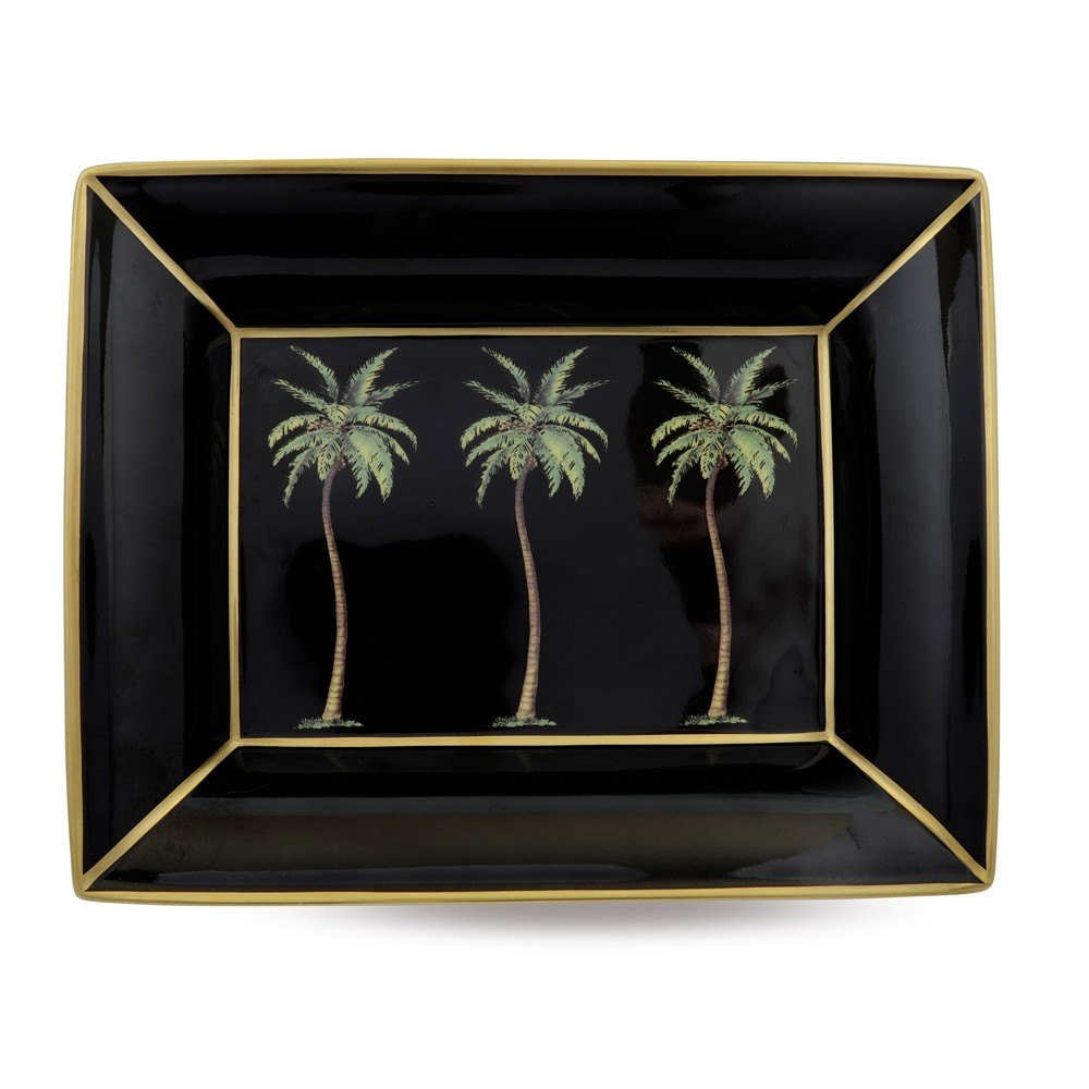 Palm on Black Trinket Tray