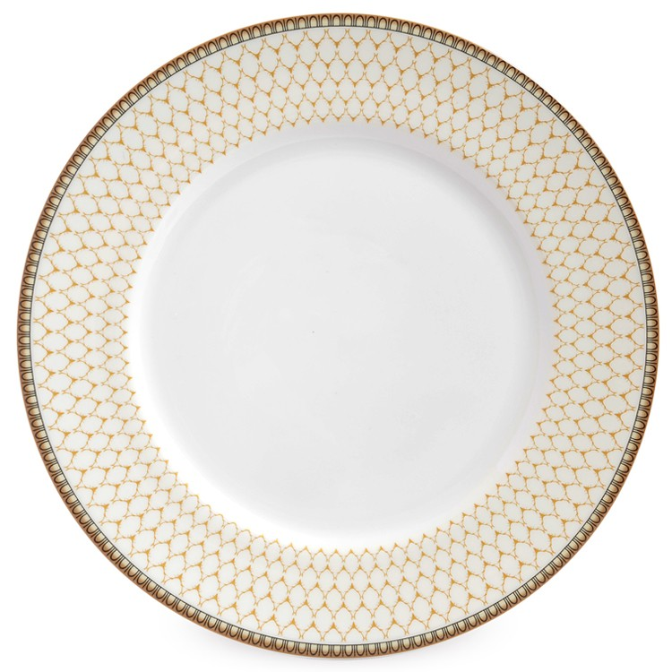 "Gordon Castle Antler Trellis 10"" Dinner Plate on Ivory"