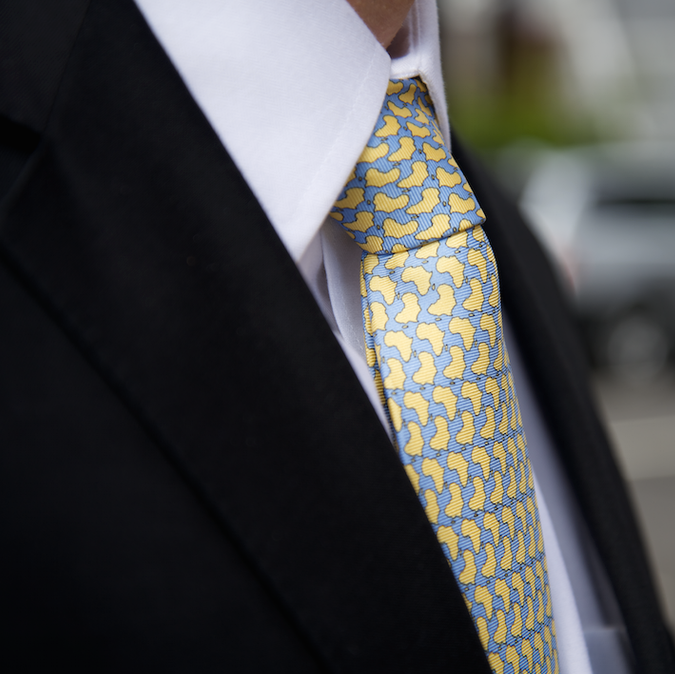 Africa Handmade Pure Silk Tie Lemon Yellow Zoomed
