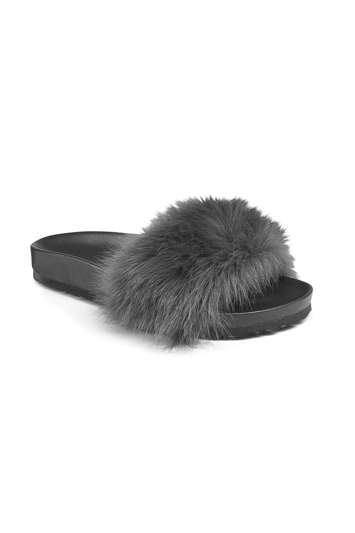 Toscana Charcoal Shearling Slides