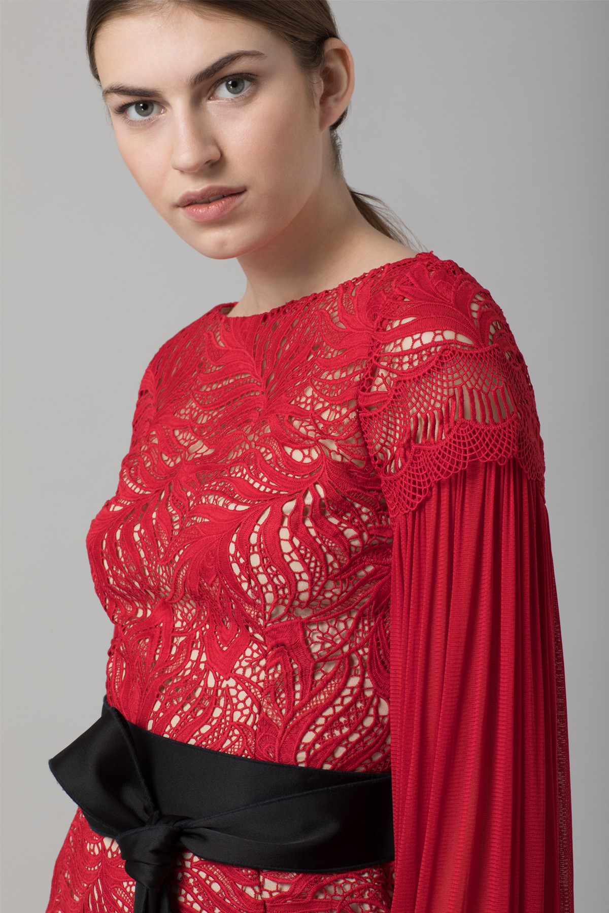 Amanda Wakeley Red Paisley Lace Midi Dress