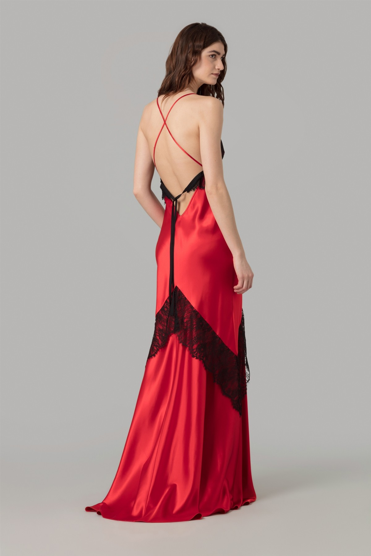 Amanda Wakeley Red Crepe Back Satin Dress