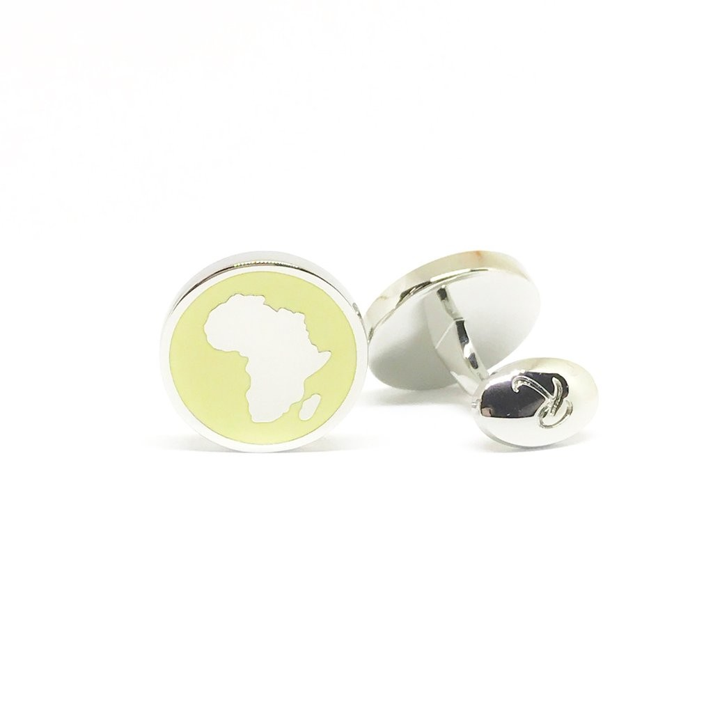 Reddendi Africa Silver Cufflinks Lemon Yellow 2