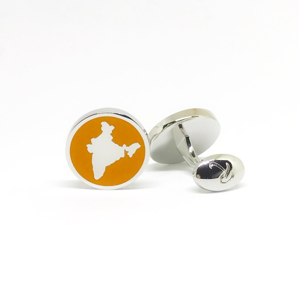 Reddendi India Silver Cufflinks Saffron 2