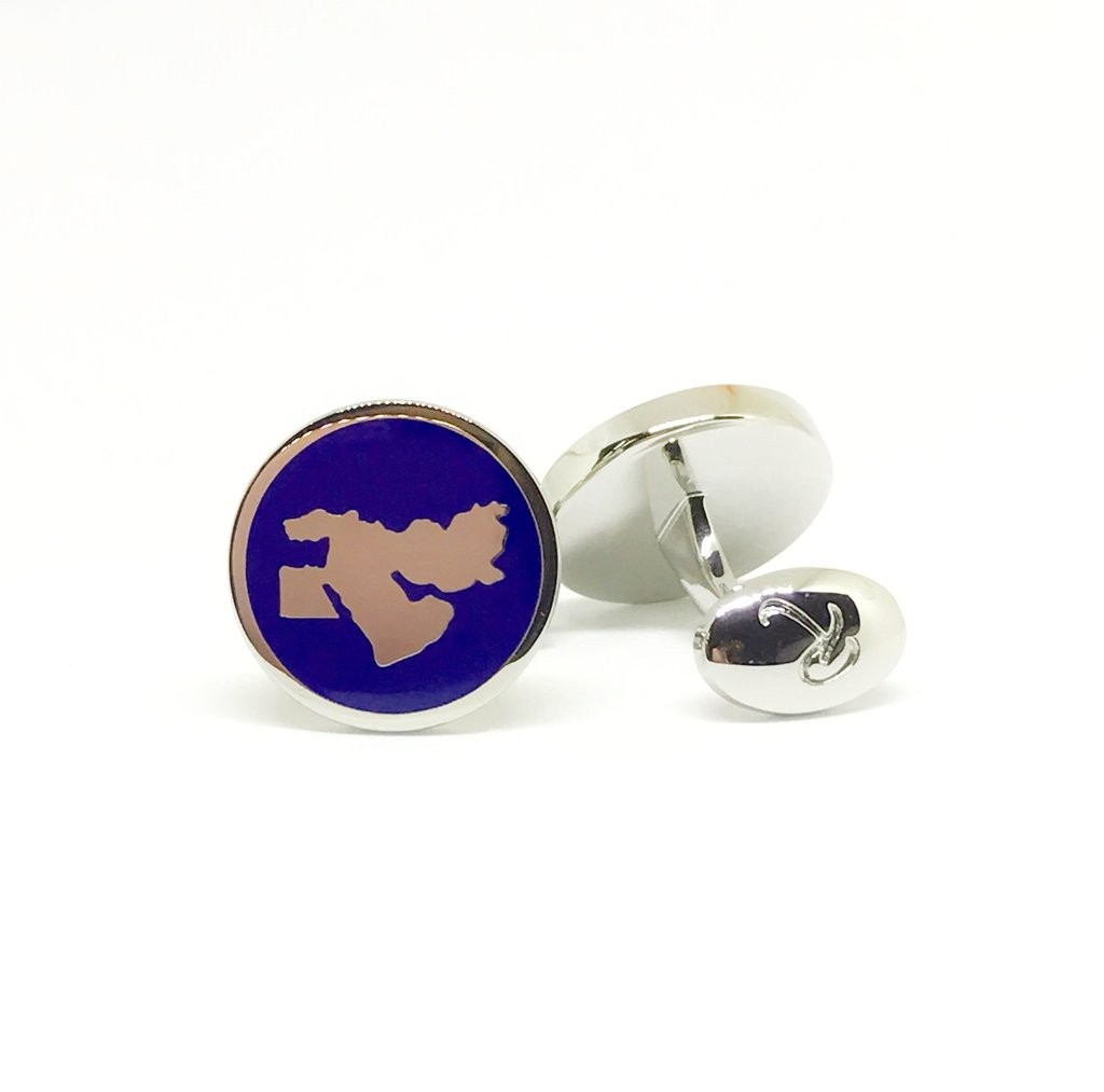 Reddendi Middle East Silver Cufflinks Navy Blue 1