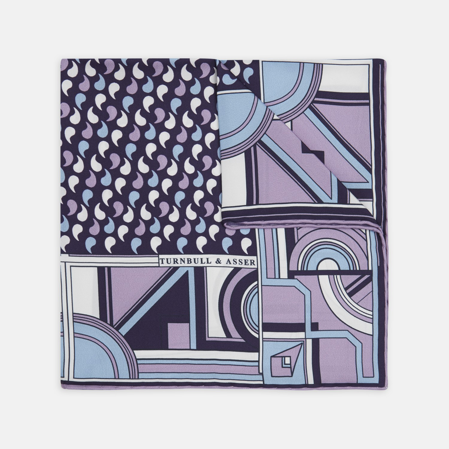 Deco Paisley Lilac And Blue Silk Pocket Square