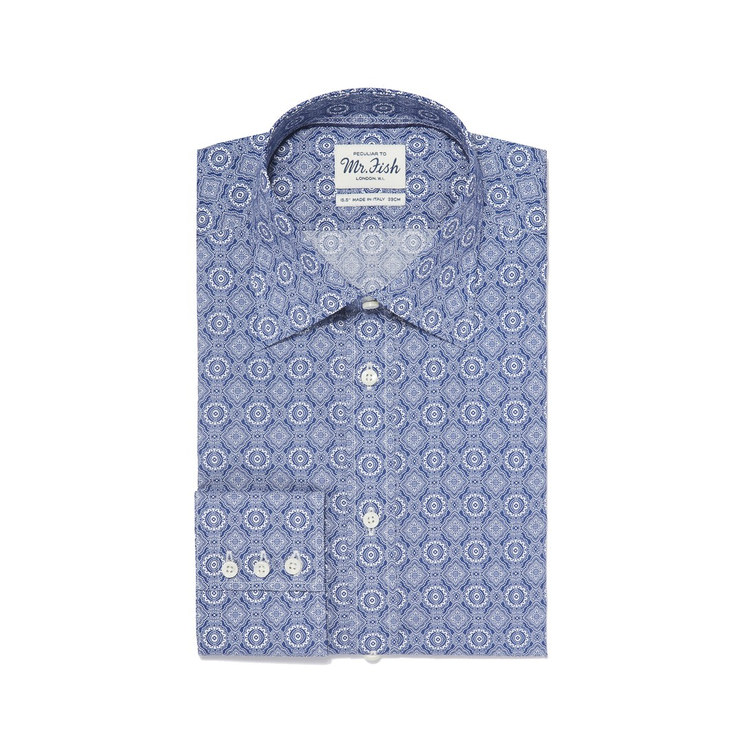 MR FISH Blue Kaleidoscope Shirt