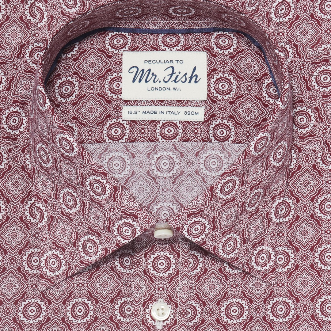 MR FISH Burgundy Kaleidoscope Shirt
